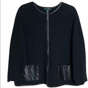 Lauren Ralph Lauren Trimmed 2XBlack Sweater Jacket